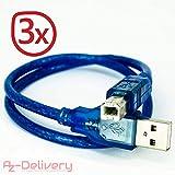 AZDelivery ⭐⭐⭐⭐⭐ 3 x blaues USB Kabel für UNO R3 und Mega 2560 für Arduino Development Board