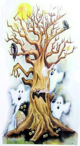 WANDDEKO - GESPENSTERBAUM - 85 cm x 165 cm Halloween Deko (Halloween Türdekoration)