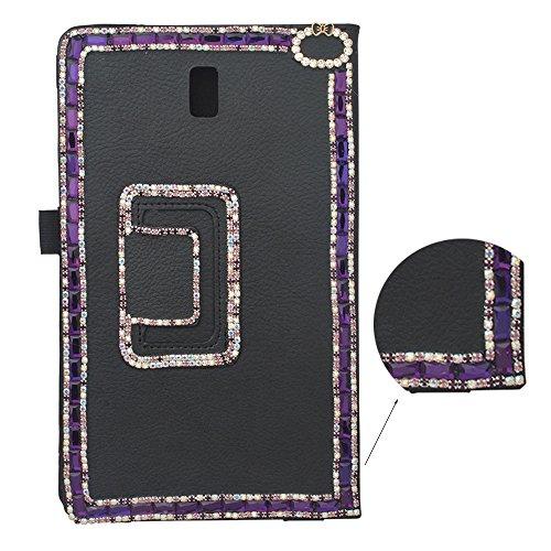 Preisvergleich Produktbild spritech (TM) 3D Bling Flip Folio Smart Shell Case Premium PU Leder Schutzhülle mit Ständer für Samsung Galaxy Tab S 8.4,  schwarz,  Samsung Galaxy Tab S 8.4