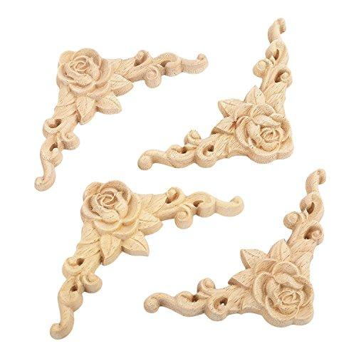 SODIAL 10PCS Floral Holz geschnitzt Decal Corner Applique verzieren Rahmen Holzfiguren Kabinett dekorative - Handwerk Holz-applique