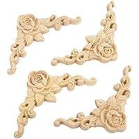 SODIAL 10 piezas de Calcomania tallada en madera de Floral Aplique de esquina Decorar el marco Estatuillas de madera Artesanias decorativas de Gabinete