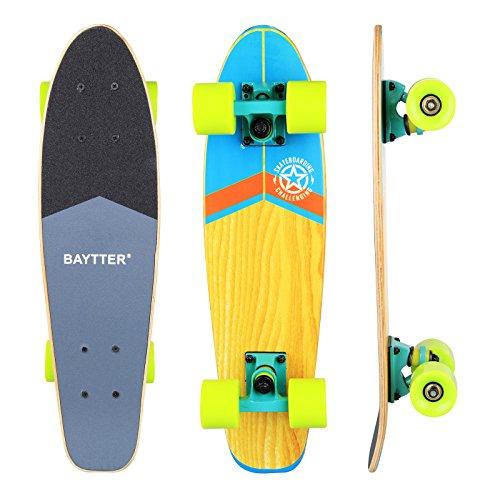 BAYTTER® 22 Zoll Skateboard Komplett Board Mini-Cruiser aus 7-lagigem Ahornholz 57 x 15cm für Kinder, Jugendliche und Erwachsene mit ABEC-11 Kugellager und 95A Rollenhärte, 5 Farben wählbar (grün)