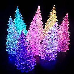 Espeedy Árbol de Navidad acrílico LED luces decolorarse lámpara de Navidad para vacaciones accesorios