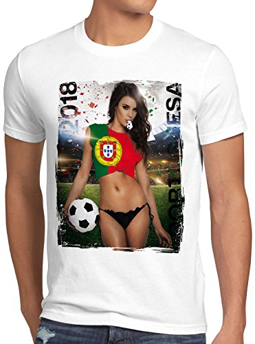 style3 WM 2018 Soccer Girl Deutschland Herren T-Shirt Fußball Trikot Germany Weiss, Größe:L, Land:Portugal