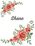 Shane: Personalized Composition Notebook - Vintage Floral Pattern (Red Rose Blooms). College Ruled (Lined) Journal for School Notes, Diary, Journaling. Flowers Watercolor Art with Your Name