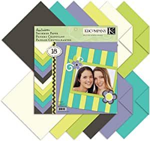 K and Company 12-Inch by 12-Inch Poppy Seed Double-Sided Shimmer Paper Pad, 18-Sheet by K&Company