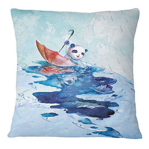 Timingila Blau Satin Kissenbezug Panda Schwimmen und Sonnenschirm Designer Bett Zimmer Kissenbezüge Kissenbezug Werfen für Zuhause 1 Stck - 18 x 18 Zoll
