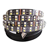 Tesfish 5050 doublé rangée LED bande couleur RGBW 5M 600LEDs DC12V IP33 noir PCB Bord Non imperméable bande de lumière