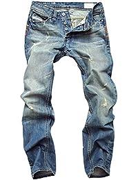 Hombre De Vaquero Casual Roto Mezclilla Pantalones Straight Fit Jeans