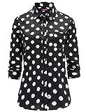 Dioufond Camisas Mujer Manga Larga Estampada de Lunares de Moda de Casual Camisetas (Negro+44)