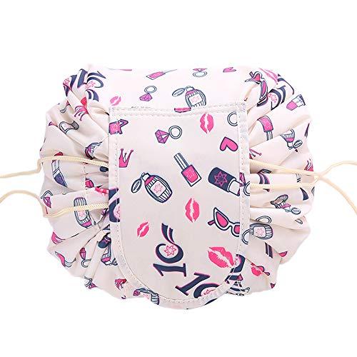 Anself Fashion Cosmetic Bag Large Capacity Lazy Makeup Toiletry Bag Storage Portable Drawstring Quick Pack Waterproof Travel Bag