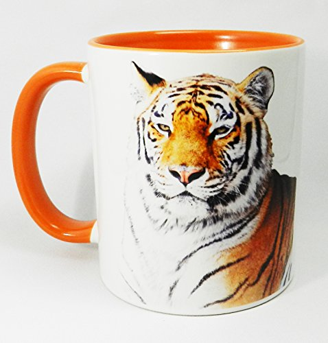 The Tiger Mug with orange glazed handle and inner