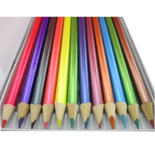 Brand New High Quality 12 METALLIC COLOUR PENCILS SET For All Type Of Art Work Artist Paintings Drawing Craft Artists Picture Kit Canvas Assorted Colours Kids Home School Office Tin Case