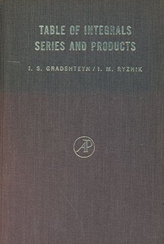 Tables of integrals series, and products