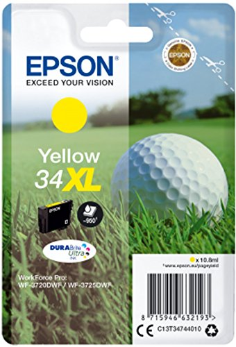 Epson Original 34 Tinte Golfball (WF-3720DWF WF-3725DWF, Amazon Dash Replenishment) gelb -