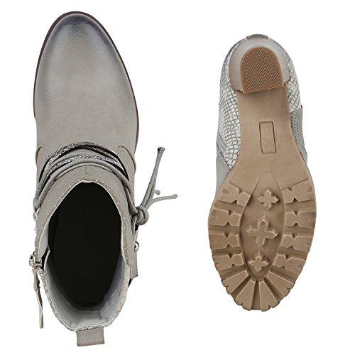 Damen Stiefeletten Biker Boots Used Look Prints Metallic Schuhe Grau