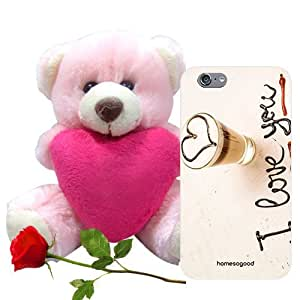 Valentine Gift Homesogood Drink Coffee With Love Brown 3D Mobile Case For iPhone 6 (Back Cover) With Teddy & Red Rose