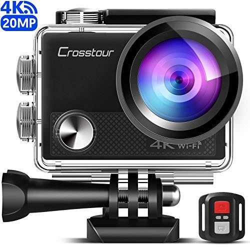 Crosstour Caméra Sport 4K Wi-FI 20MP Ultra HD étanche 40M Action Camera Télécommande avec 2 Piles et Un kit...