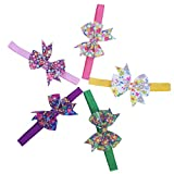 #6: Multi-Colour Grosgrain Ribbon floral Bow  Headband for Girls  Headband Baby Girl  ( 5Pcs, Color Random)