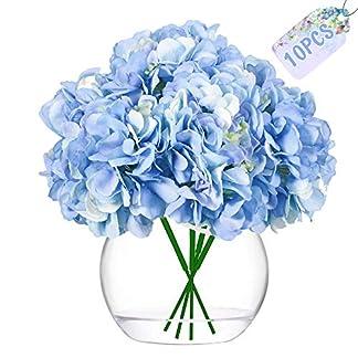 JUSTIDEA Flores Artificiales Hortensia Flor Falsa Ramo de Flores para Decoración de Boda Hogar (10 Piezas)