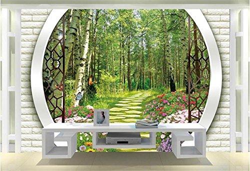 Wallpaper Benutzerdefinierte Zimmer Fototapete Birkenwald Straße Bögen Einstellung Wand Dekor Malerei 3D Wandbilder Tapete Für Die Wände 3D 420Cm X 260Cm ()