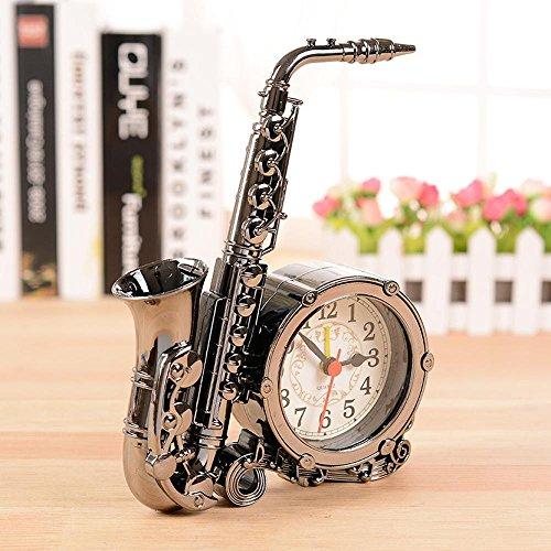 SSBY Saxophon-Uhr, antike continental faulen Studentenwohnheim in die kreative Desktop-Uhr, Uhr, Tischuhr