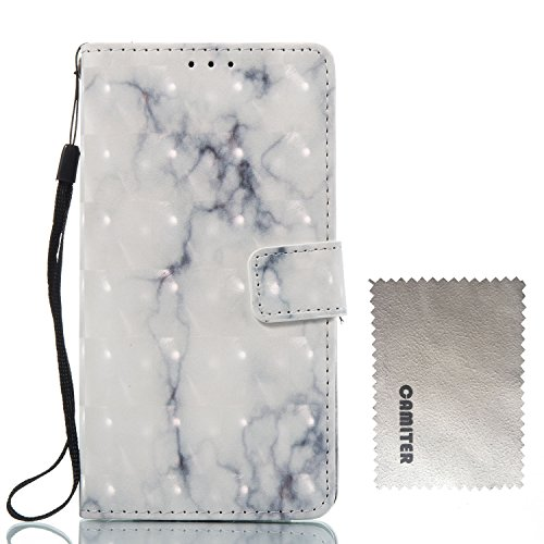 Coque iPhone 7 Plus Flip Case housse Portable, Violet blanc 3D Design en marbre Étui de Protection Rabattable Style Flip Cover Cuir avec Fermeture Aimantée pour Apple iPhone 7 Plus /iPhone 8 Plus Blanc gris