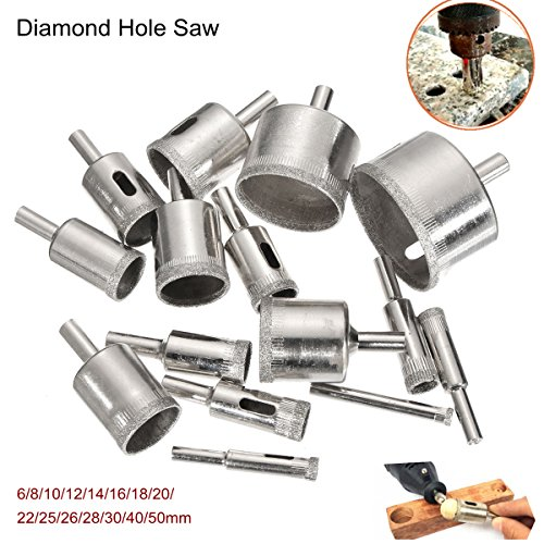 DyNamic 15Pcs 6-50Mm Diamond Hole Saw Drill Bit Set 100 Grits Tile Ceramic Glass Marble Drill Bits Bits