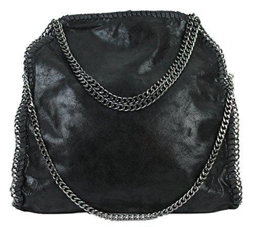 Damen Shopper Beuteltasche mit Kette (schwarz1)
