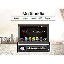 """2G 16G 7""""Single DIN Android 6.0Quad-Core, pantalla táctil, Bluetooth, DVD/CD/MP3/USB/SD AM/FM estéreo de coche, monitor digital con pantalla LCD de 7pulgadas, panel frontal extraíble inalámbrica, mando a distancia, iluminación multicolor"""
