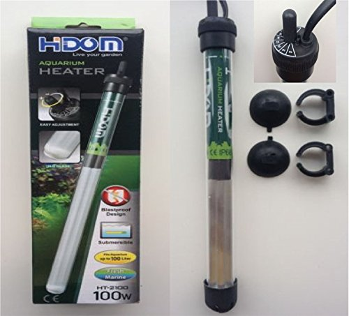 Hidom HT-2100 Submersible Blastproof Aquarium Heater 100w with FREE THERMOMETER - Max Tank Size 100 Litres Test