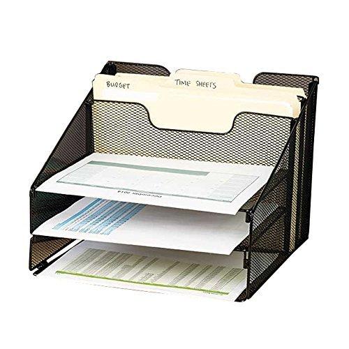 (vanra Metall Mesh Desktop-Datei Sortiermaschine Organizer Schreibtisch Tablett Organisieren mit 3Briefablagen und 2horizontale aufrecht Sektionen, schwarz)