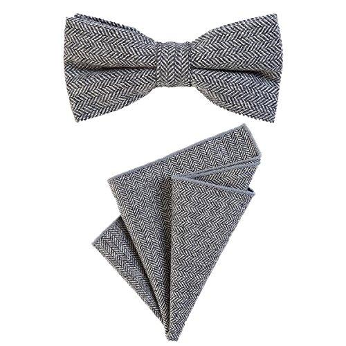 DonDon Herren Fliege 12 x 6 cm mit farblich passendem Einstecktuch 23 x 23 cm beides aus Baumwolle im Tweed Look grau kariert -