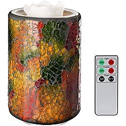 COOSA Fuente de la vela iluminada Multicolor Mosaico Cristal Jar Aqua Fuente Mando a Distancia Candle LED Luz para yoga,hogar (2)