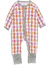 1a60058434e36 0-4 Ans Pyjama à Fermeture Éclair Combinaison à Manche Longue Motif Lettre  Grenouillère pour Fille Bébé…