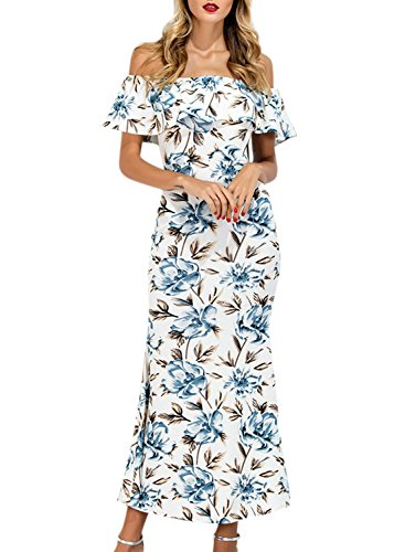 Azbro Women's off Shoulder Ruffle Floral Printed Split Maxi Prom Dress white
