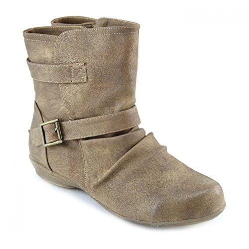 Kick scarpe da donna chiusura a Zip da infilare piatto caviglia bagagliaio Beige (Marrone)