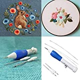 #4: Voberry Magic Embroidery Pen Punch Needle, Magic Embroidery Pen Set Craft Tool for DIY Threaders Sewing