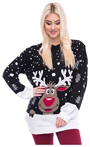 *Christmas Sweater Damen Weihnachtspullover Weihnachten Pulli Xmas REH Bambi Rudolph Rentier mit Roter Puschelnase (S/M, Rentier Schwarz)*