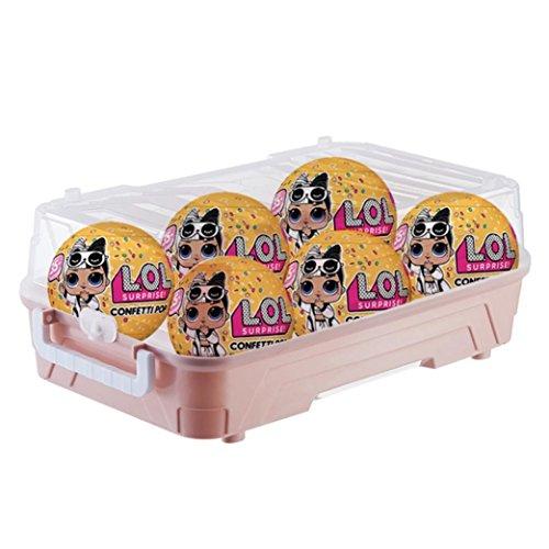 Caja de almacenamiento para juguetes de Diadia, organizador portátil de plástico con capacidad para muñecas LOL, arte y manualidades, artículos coleccionables y más, diseño ligero, seguro y a presión, 6 compartimentos