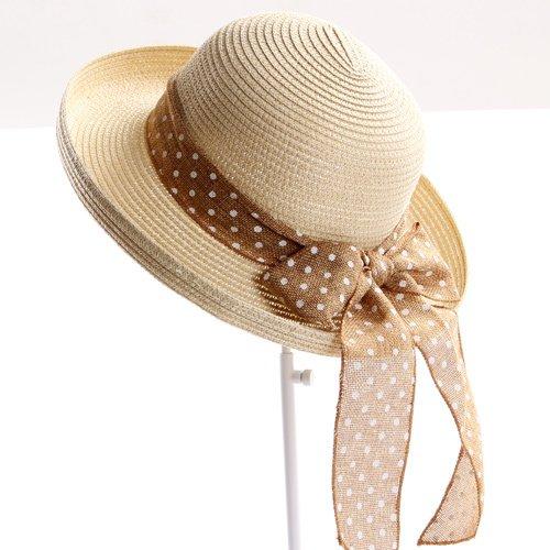 ZHANGYONG*Cappelli di marea sole estivo hat grande lungo la parte superiore del vuoto, visiera spiaggia (Dots Ragazzi Tie)