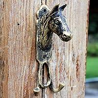 DEE Multi-Purpose Over Door Hooks,Rustic Vintage Cast Iron Hook Garden Wall Hardware Accessories Hook Latches Horse Head Double Hook Decoration