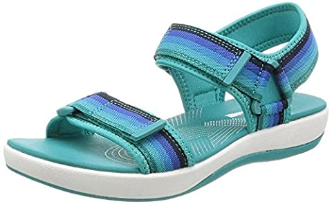 Clarks Brizo Ravena Textile Sandals In Blue Standard Fit Size 4