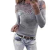 OVERDOSE Damen Langarm O Hals Spitze Patchwork Sweatshirt Bluse Pullover Frühling Spitze Sommer Tops Pulli(A-Gray,EU-38/CN-M)