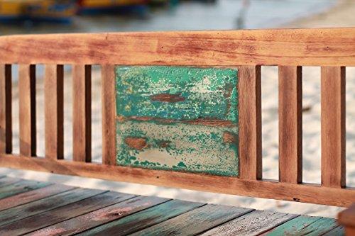 Outflexx 3-Sitzer Gartenbank, Fishboat-Holz, braun, 160 x 60 x 90 cm - 4