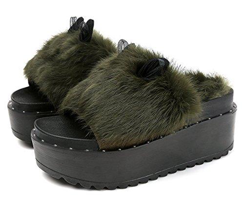 Frauen-Abnutzung-beständige Schuhe Damen-Maultier-Pantoffel-Kunstpelz-gesteppte Futter-rutschfeste harte Sohlen-Beleg-Ons ( Color : Green , Size : US8/EU39/UK6/CN39 ) (Ballett Leder Flach Gesteppte)