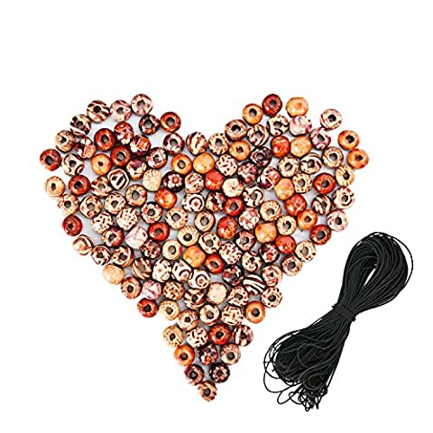 Sumind 200 Pieces 10 mm Wood Beads Painted Wooden Beads Wood Loose Beads with 15 Meters Elastic Cord for DIY Crafts Jewelry