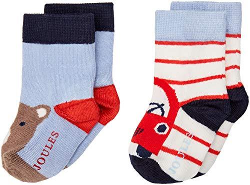 joules Baby-Jungen Neat Feet Socken, (Multi Charcoal Bear Mltcarbear), (Herstellergröße: 6-12) (2erPack) -