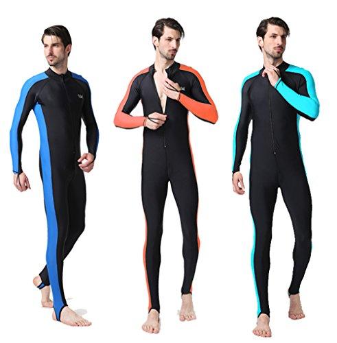 Sonnenschutz Langarm-Rollkrageneinteiligeone - piece Schwimmtauchdiving engen Body Badeanzug für Männer Blau