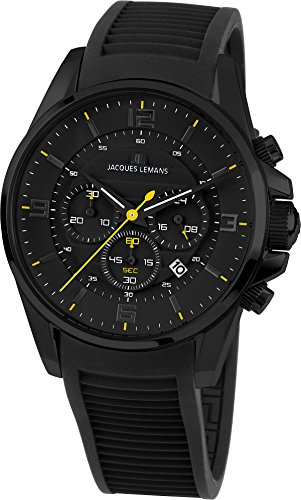 JACQUES LEMANS Herrenuhr Liverpool Silikonband massiv Edelstahl ip-Black Chronograph 1-1799E